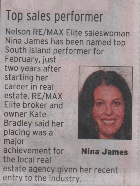 Nina James in The Nelson Mail, March 22, 2013