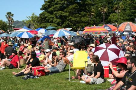 Concert goers soaking up the summer sunshine and groovy tunes.